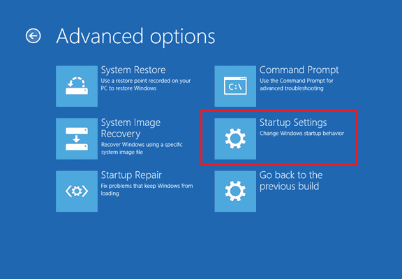 Windows 10 - Aadvanced options - Startup Settngs