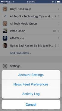 account settings for iphone users