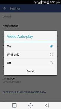 turn off videos auto play