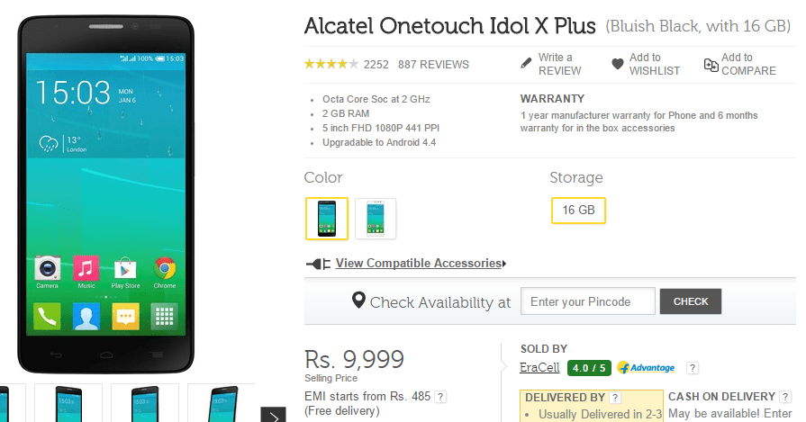 Alcatel OneTouch Idol X Plus