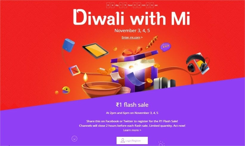 Xiaomi Diwlaiwithmi flash sale