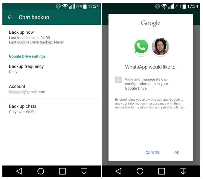 WhatsApp - How to Backup chat history
