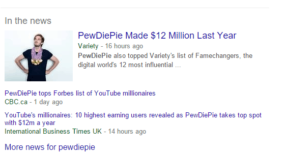 pewdiepie on google news
