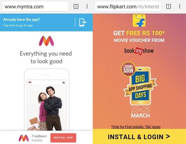 Flipkart and Myntra - Mobile app platform
