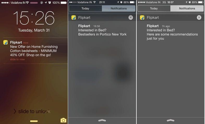 Flipkart sends Push Notifications