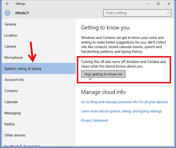Disable Keylogger feature on Windows 10 Privacy Settings