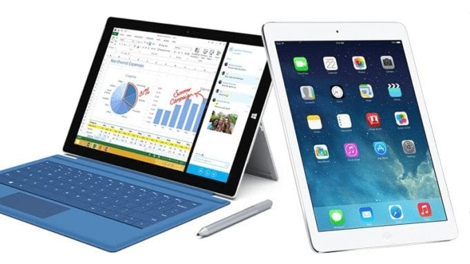 Display of iPad Pro and Surface Pro 4