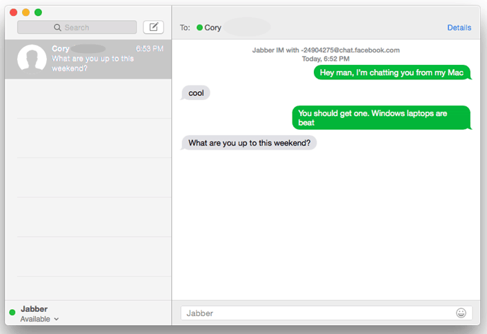 Messages App on Mac