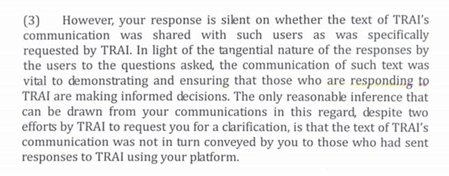 Trai response to Facebook Free basics campaign