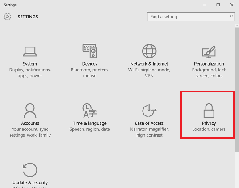 Turn off Keylogger on Windows 10 - Privacy Settings