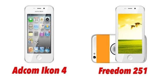 Freedom 251 Smartphone - Rebranded version of Adcom Ikon 4