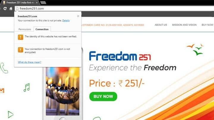 Freedom 251 Website could put User Data at Risk