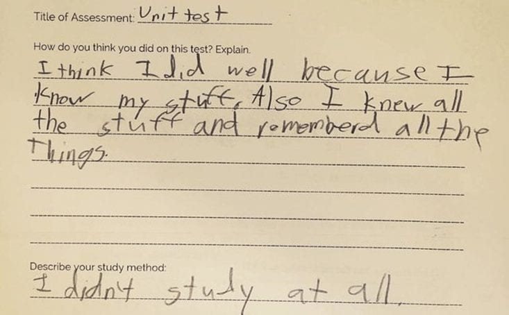 Honest Answer by a Kid in their Examination