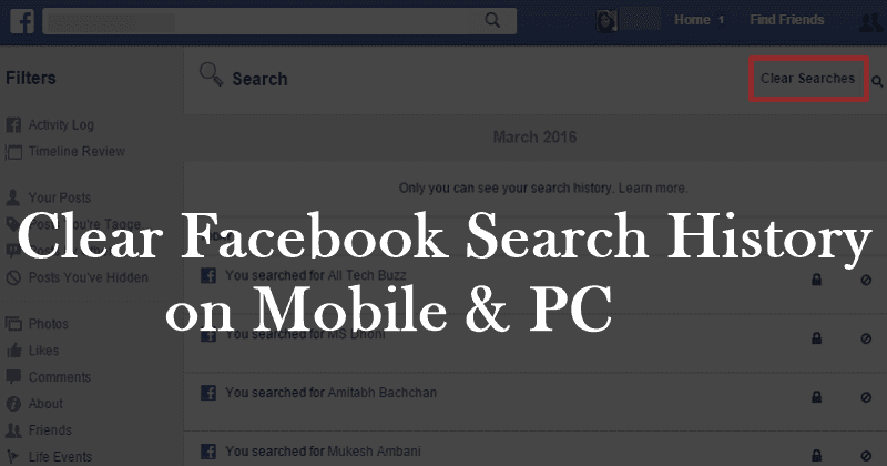 How to Clear Everything you Search on Facebook