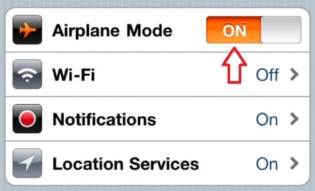 air plane mode on