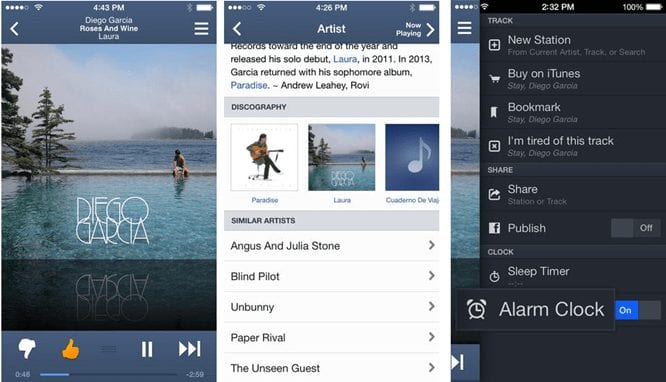 pandora best music players for android ios