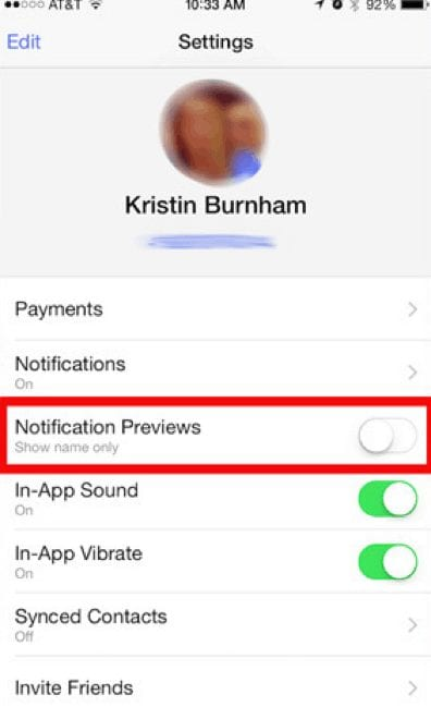 disable notification previews on facebook chat messenger