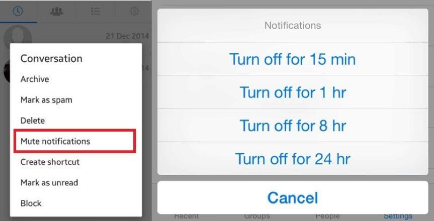 mute notifications on facebook messenger