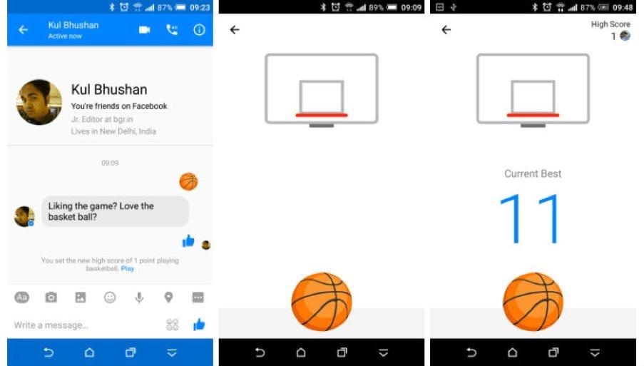 play basket on facebook messenger