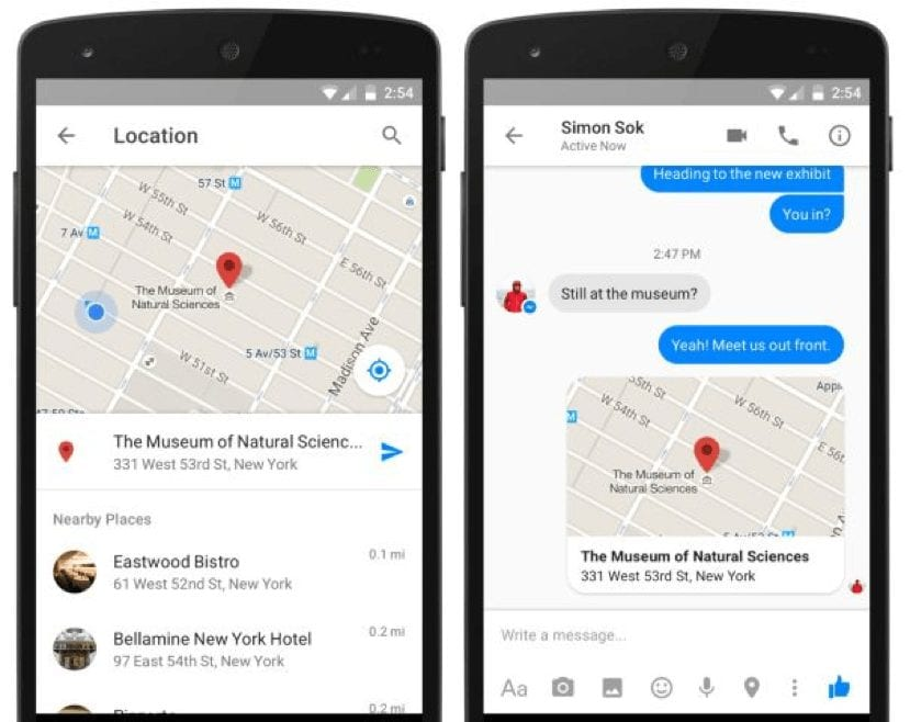 share your location with your friends on facebook messenger