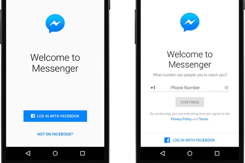 use facebook messenger without a facebook account
