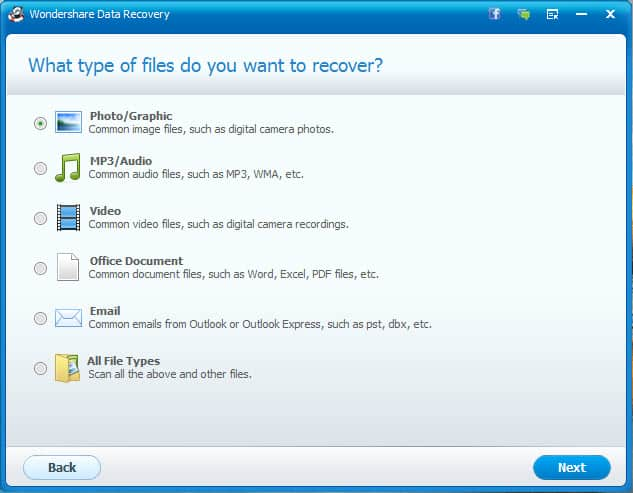 Select the file type for recovery