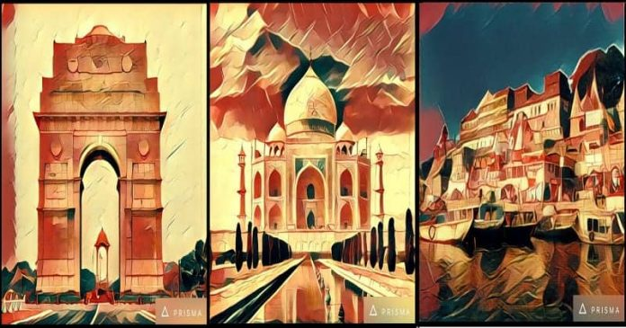 indian iconic places art prisma