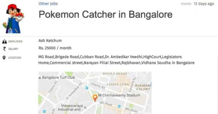 jobs for pokemon go catchers in bangalore