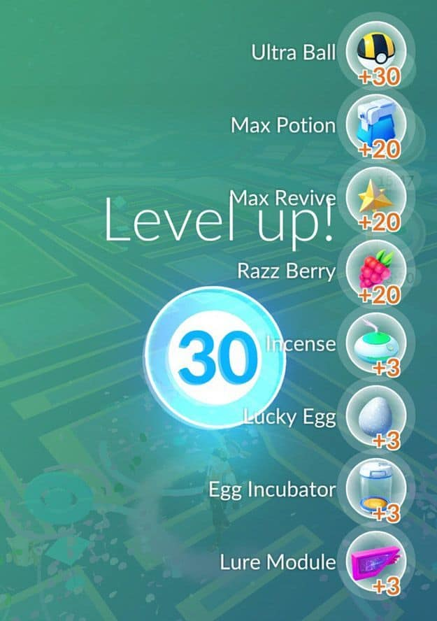 pokemon go level 30bonus
