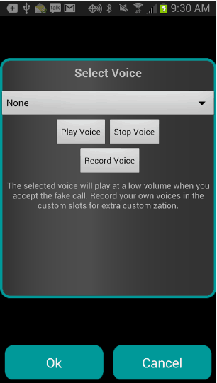 Selecting Voice In Fake A Call App
