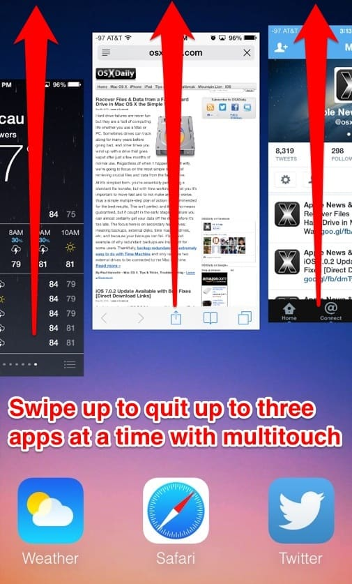 Close multiple apps at once-23 Awesome, Little-Known iPhone Features That Apple Doesn't Talk About (1)