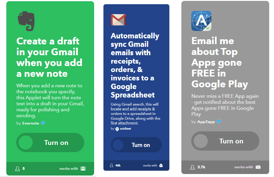 Evernote, gmail, google play - IFTTT premade applets