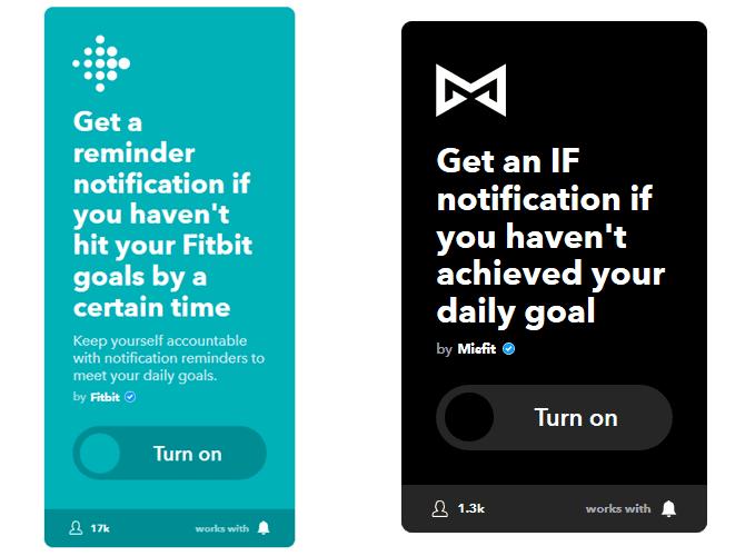 IFTTT pre-made Fitness applets