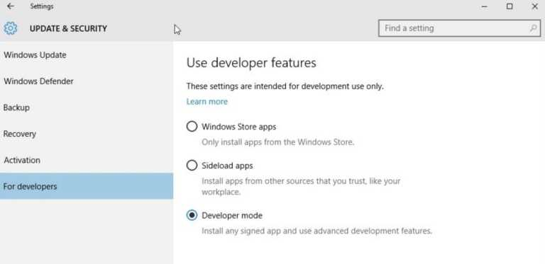 switch to developers tab