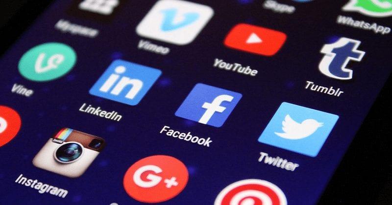 social media networks on mobile screen.