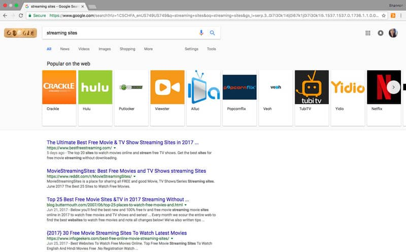 streaming sites-google search results