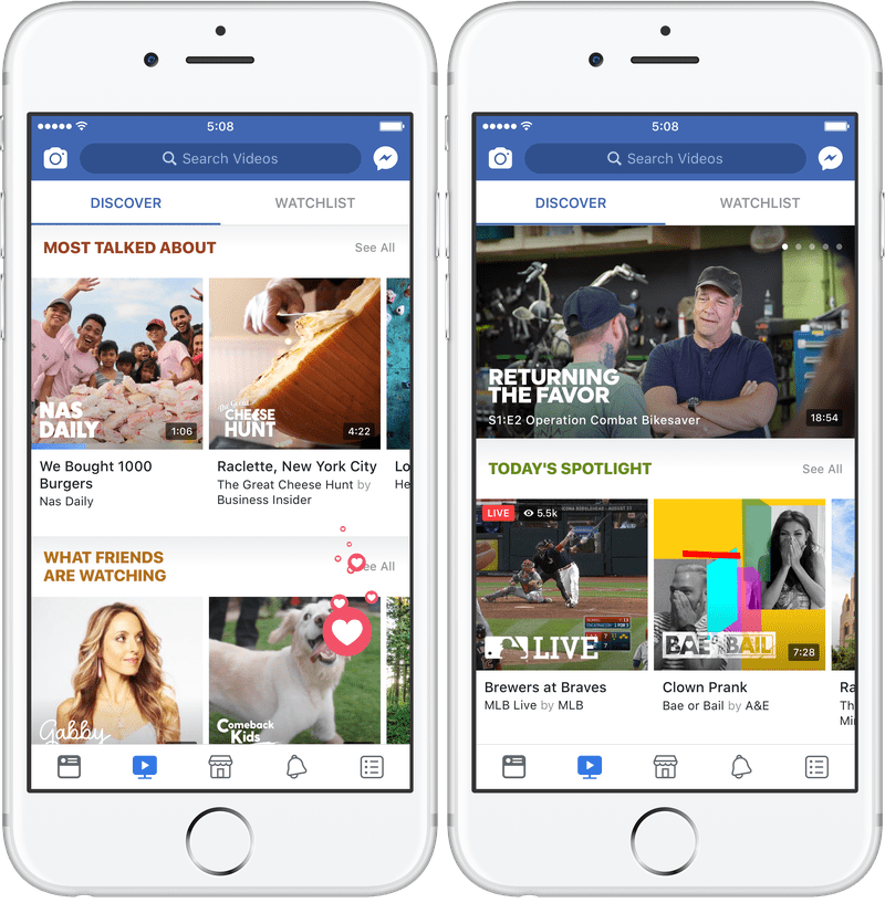 Facebook 'Watch' Tab