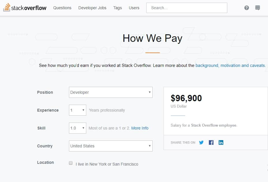 Stack Overflow Launches Salary Calculator For Developers To