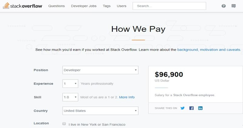 Salary Calculator- A Tool Launched By Stack Overflow For Developers