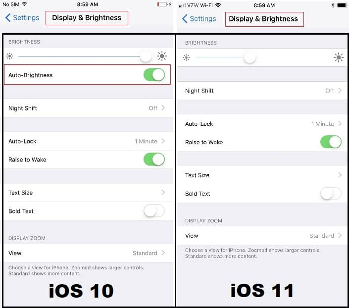 Auto-Brightness seen in iOS 10 (left) but missing from iOS 11 (right).