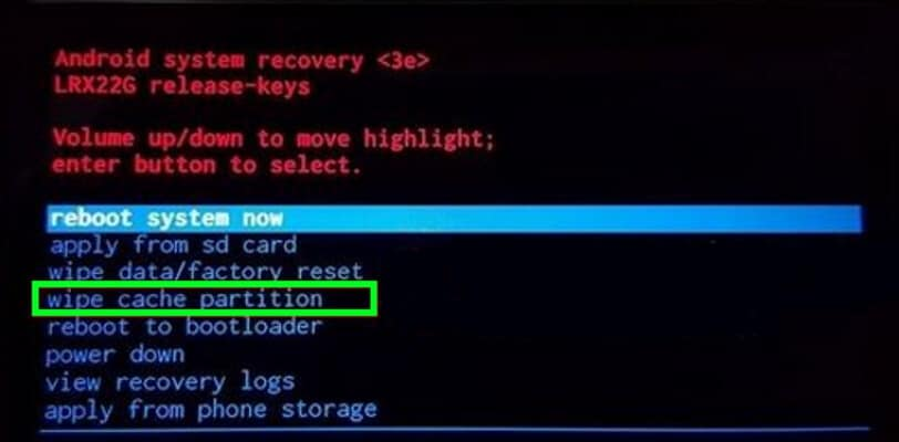 recovery-clear-cache-data