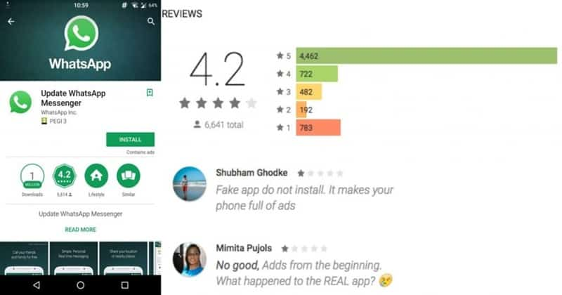 1 Million Downloads for Fake WhatsApp app on Google Play Store