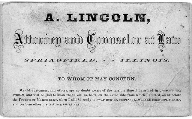 Abraham Lincoln Business Card
