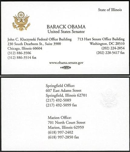 Barack Obama Business Card
