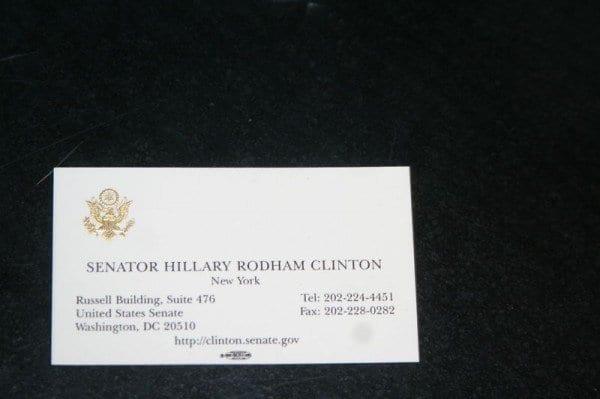 Hillary Clinton Business Card