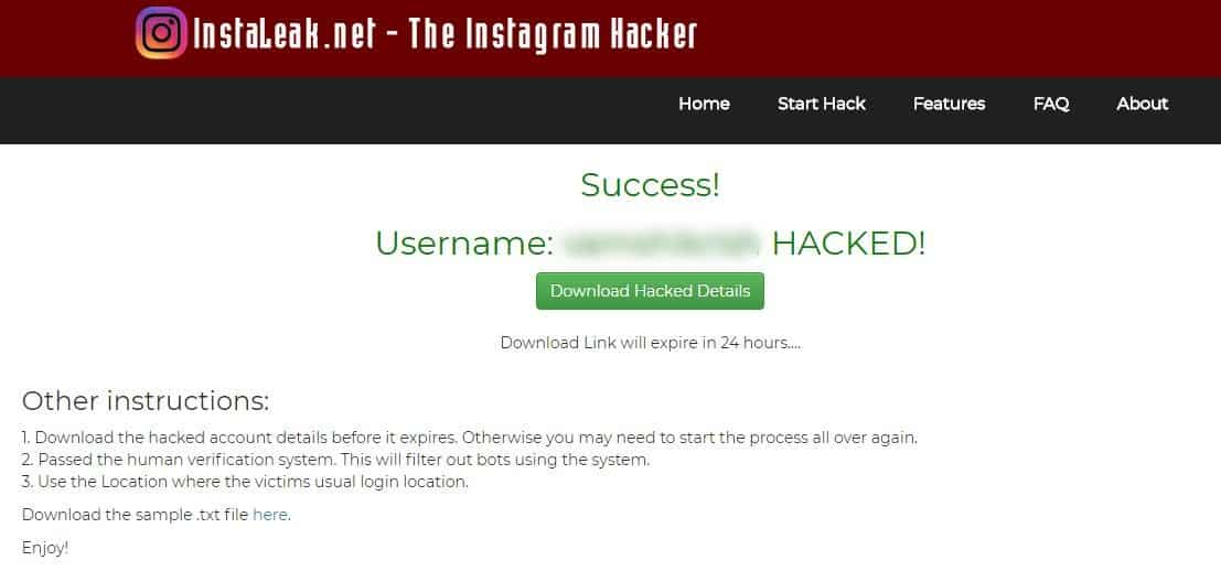 Instaleak - download hacked data