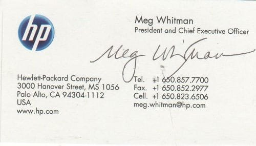 Meg Whitman Business Card