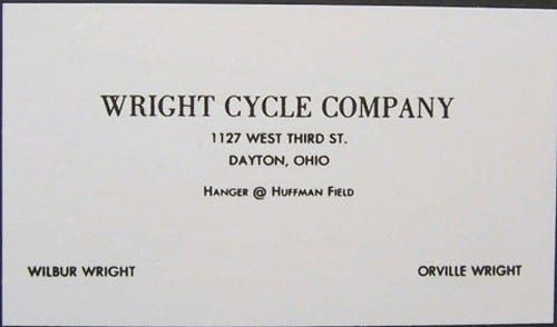 Wright Brothers Business Card