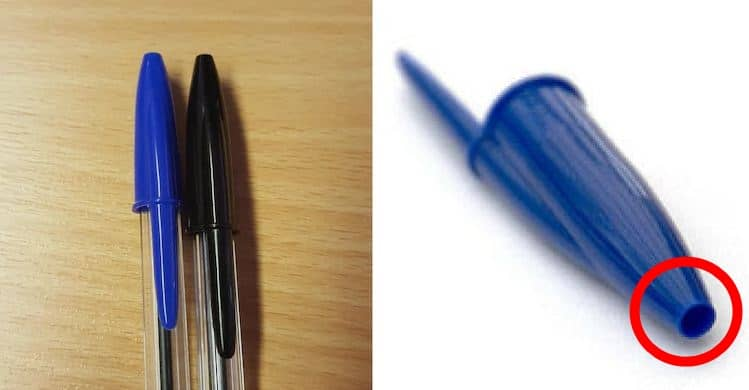 Hole in a pen's cap