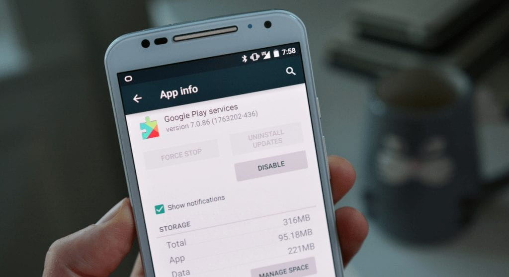 Uninstall and reinstall Google Play Services app